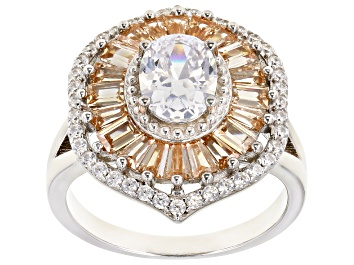 Picture of White And Champagne Cubic Zirconia Rhodium Over Sterling Silver Ring 4.61ctw