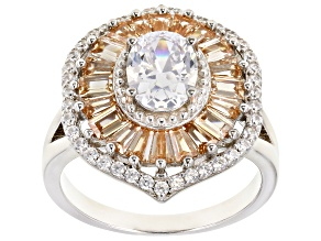 White And Champagne Cubic Zirconia Rhodium Over Sterling Silver Ring 4.61ctw