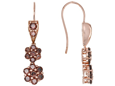 Mocha Cubic Zirconia 18K Rose Gold Over Sterling Silver Earrings 5.27ctw