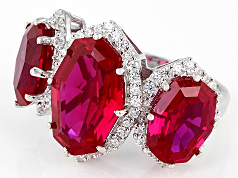 Lab Created Ruby And White Cubic Zirconia Rhodium Over Sterling Silver Ring 16.18ctw