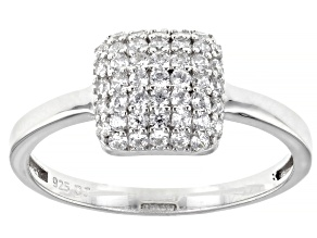 White Cubic Zirconia Rhodium Over Sterling Silver Ring 0.80ctw