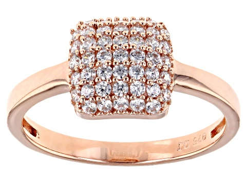 White Cubic Zirconia 18K Rose Gold Over Sterling Silver Ring 0.80ctw
