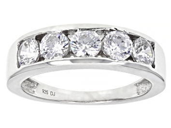 Picture of White Cubic Zirconia Rhodium Over Sterling Silver Band Ring 2.30ctw