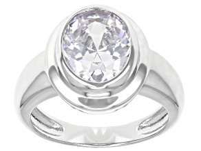 White Cubic Zirconia Rhodium Over Sterling Silver Ring 6.10ctw