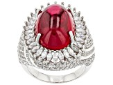 Red And White Cubic Zirconia Rhodium Over Sterling Silver Ring 20.73ctw
