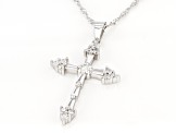 White Cubic Zirconia Rhodium Over Sterling Silver Cross Pendant With Chain 1.48ctw