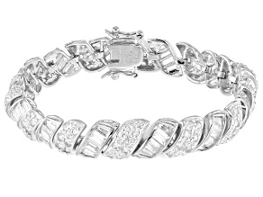 White Cubic Zirconia Rhodium Over Sterling Silver Tennis Bracelet 18.07ctw