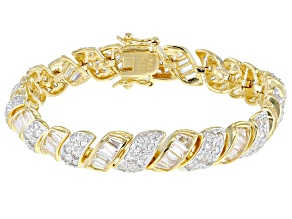 White Cubic Zirconia 18K Yellow Gold Over Sterling Silver Tennis Bracelet 18.07ctw