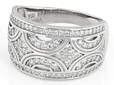 White Cubic Zirconia Rhodium Over Sterling Silver Band Ring 1.03ctw