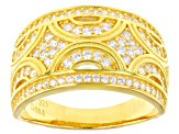 White Cubic Zirconia 18K Yellow Gold Over Sterling Silver Band Ring 1.03ctw