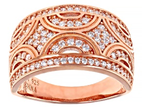 White Cubic Zirconia 18K Rose Gold Over Sterling Silver Band Ring 1.03ctw