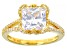 White Cubic Zirconia 18K Yellow Gold Over Sterling Silver Ring 6.22ctw