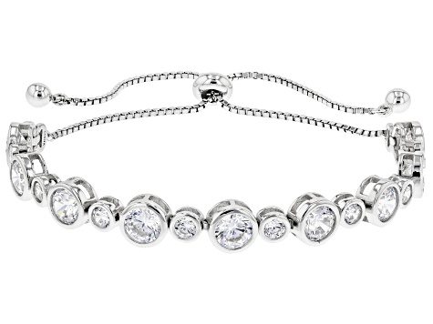 White Cubic Zirconia Rhodium Over Sterling Silver Adjustable Bracelet 8.91ctw