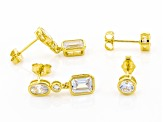 White Cubic Zirconia 18K Yellow Gold Over Sterling Silver Earrings Set of 2 6.86ctw