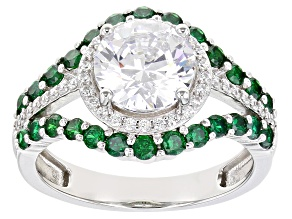 White And Green Cubic Zirconia Rhodium Over Sterling Silver Ring 5.42ctw