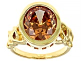 Brown Cubic Zirconia 18k Yellow Gold Over Sterling Silver Ring 8.45ctw