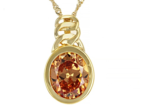 Brown Cubic Zirconia 18k Yellow Gold Over Sterling Silver Pendant With Chain 8.15ctw