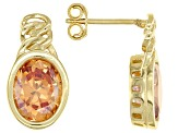 Brown Cubic Zirconia 18k Yellow Gold Over Sterling Silver Earrings 8.70ctw