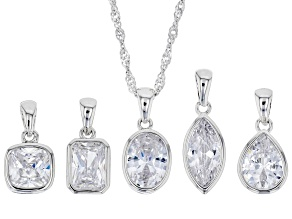 White Cubic Zirconia Rhodium Over Sterling Silver Interchange Pendant Set of 5 With Chain 8.57ctw