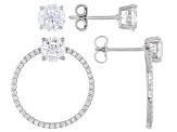 White Cubic Zirconia Rhodium Over Sterling Silver Earrings Set of 2 6.66ctw