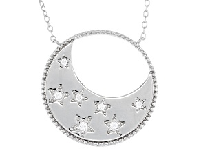 White Cubic Zirconia Rhodium Over Sterling Silver Moon And Star Necklace 0.16ctw