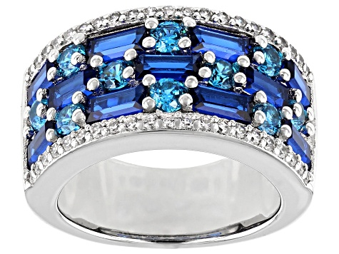 Lab Created Blue Spinel, White And Blue Cubic Zirconia Rhodium Over Sterling Silver Ring 6.16ctw