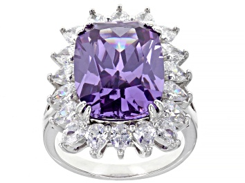 Picture of Purple And White Cubic Zirconia Rhodium Over Silver Ring 22.40ctw