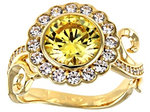 Yellow And White Cubic Zirconia 18K Yellow Gold Over Sterling Silver Ring 5.52ctw