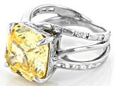 Yellow And White Cubic Zirconia Rhodium Over Sterling Silver Asscher Cut Ring 16.89ctw