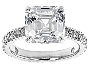White Cubic Zirconia Rhodium Over Sterling Silver Asscher Cut Ring 10.52ctw