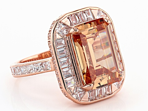Champagne And White Cubic Zirconia 18K Rose Gold Over Sterling Silver Ring 17.55ctw
