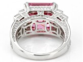 Pink And White Cubic Zirconia Rhodium Over Sterling Silver Asscher Cut Ring 22.80ctw