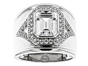 White Cubic Zirconia Rhodium Over Sterling Silver Ring 4.87ctw