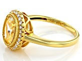 Yellow And White Cubic Zirconia 18K Yellow Gold Over Sterling Silver Ring 2.71ctw