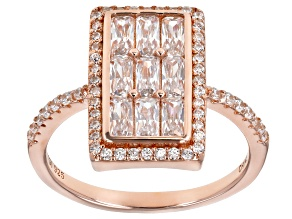 White Cubic Zirconia 18K Rose Gold Over Sterling Silver Ring 2.22ctw