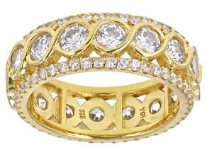 White Cubic Zirconia 18K Yellow Gold Over Sterling Silver Eternity Band Ring 6.44ctw