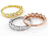 White Cubic Zirconia Rhodium And 18K Yellow And Rose Gold Over Silver Band Rings 3.78ctw