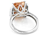 Brown and White Cubic Zirconia Rhodium Over Sterling Silver Ring 12.75ctw