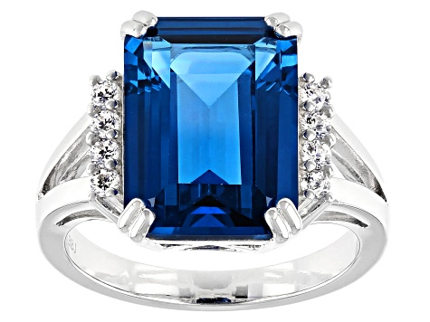 Lab Created Blue Spinel and White Cubic Zirconia Rhodium Over Sterling Silver Ring 9.09ctw