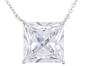 White Cubic Zirconia Rhodium Over Sterling Silver Necklace