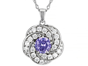 Lavender And White Cubic Zirconia Rhodium Over Silver Pendant With Chain 5.34ctw