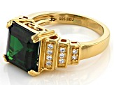 Green and White Cubic Zirconia 18k Yellow Gold Over Sterling Silver Ring 8.87ctw