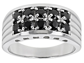 Black Cubic Zirconia Rhodium Over Sterling Silver Mens Ring 3.30ctw