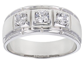 White Cubic Zirconia Rhodium Over Sterling Silver Mens Ring 1.45ctw