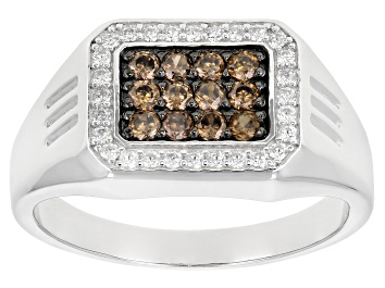 Picture of Brown and White Cubic Zirconia Rhodium Over Sterling Silver Mens Ring 1.20ctw