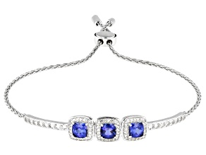 Blue And White Lab Created Sapphire Rhodium Over Silver Adjustable Bracelet 2.78ctw