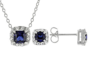Lab Created Blue Sapphire And White Cubic Zirconia Rhodium Over Silver Jewelry Set 1.75ctw