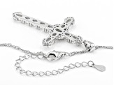 White Cubic Zirconia Rhodium Over Sterling Silver Cross Pendant With Chain 3.89ctw
