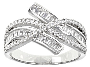 White Cubic Zirconia Rhodium Over Sterling Silver Ring 1.52ctw