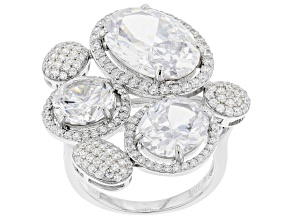White Cubic Zirconia Rhodium Over Sterling Silver Ring 19.14ctw